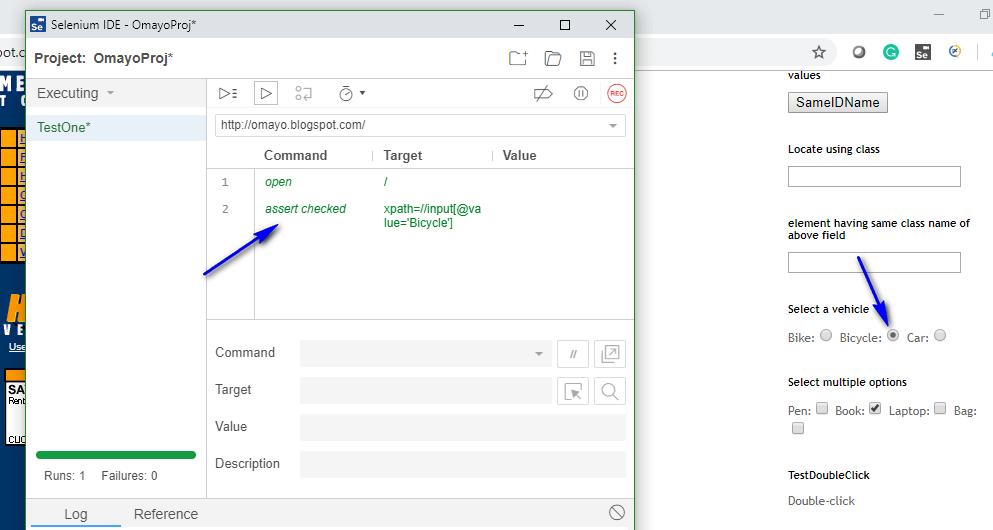assert checked radio Selenium IDE - executed