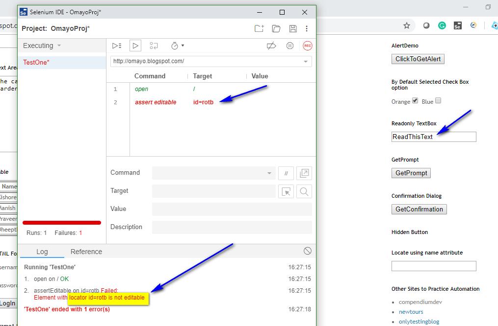assert editable Selenium IDE - execute fail