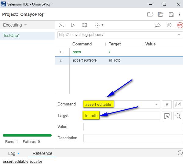 assert editable Selenium IDE - type fail