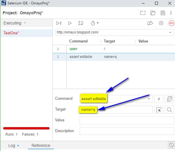 assert editable Selenium IDE - type