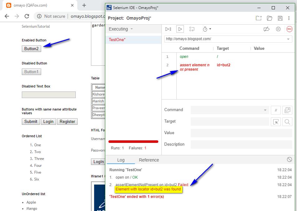 assert element not present Selenium IDE - executed failed