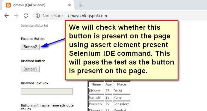 assert element present Selenium IDE - demo