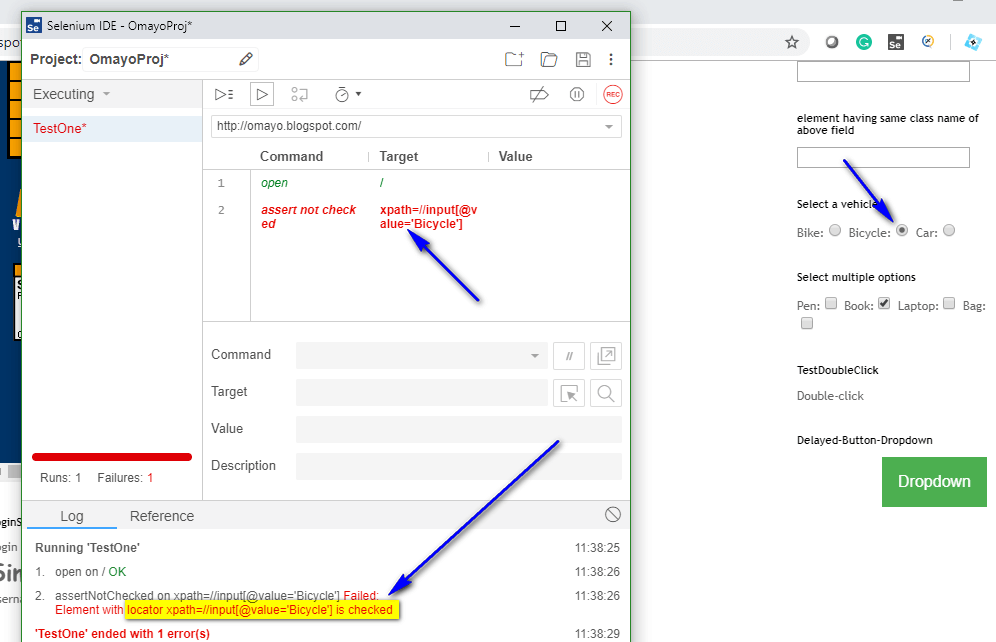 assert not checked Selenium IDE - executed fail