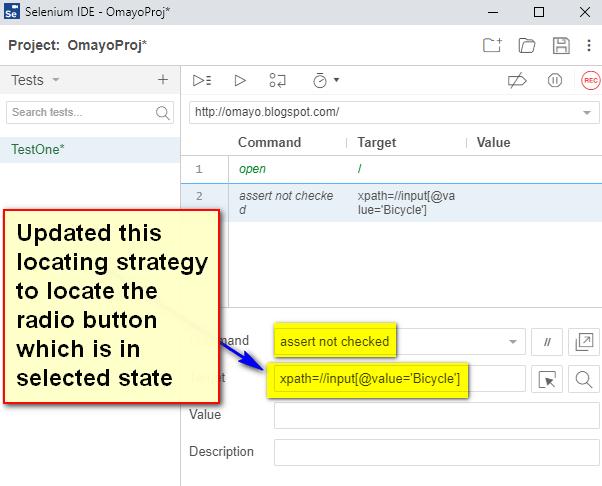 assert not checked Selenium IDE - type fail