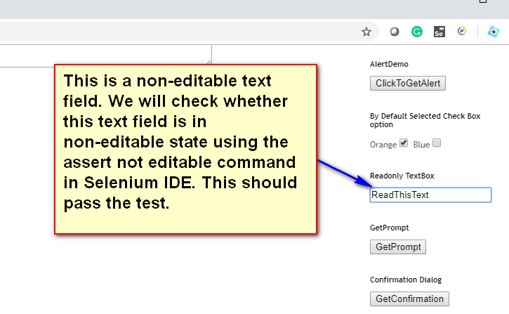 assert not editable Selenium IDE - demo