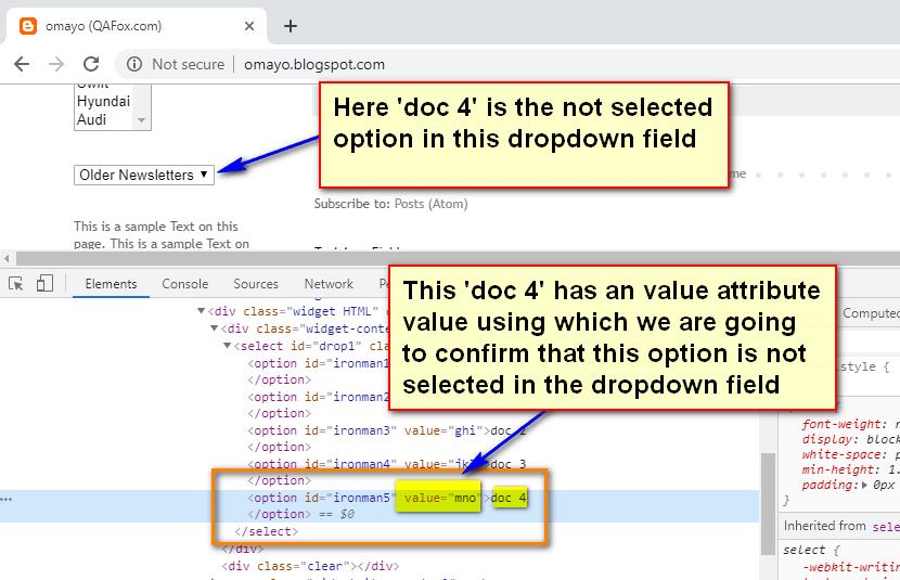 assert not selected value Selenium IDE - demo