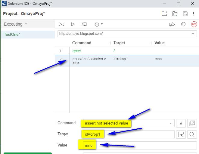 assert not selected value Selenium IDE - type
