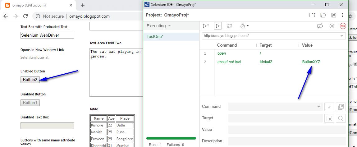 assert not text Selenium IDE - executed