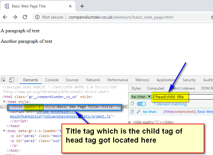 child XPath AXES - head title