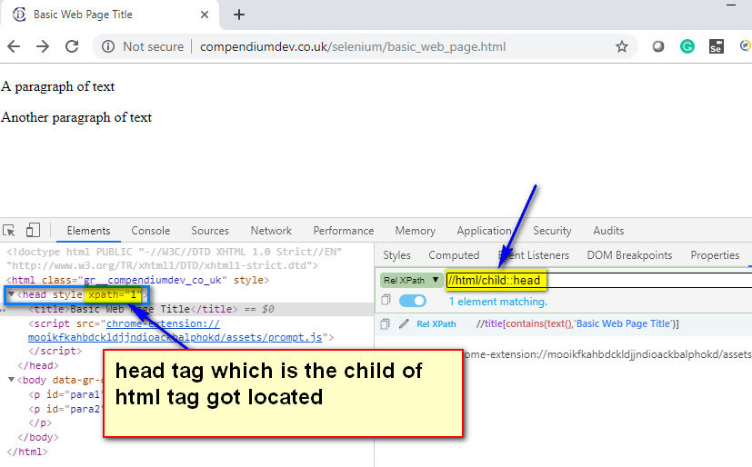 child XPath AXES - html head