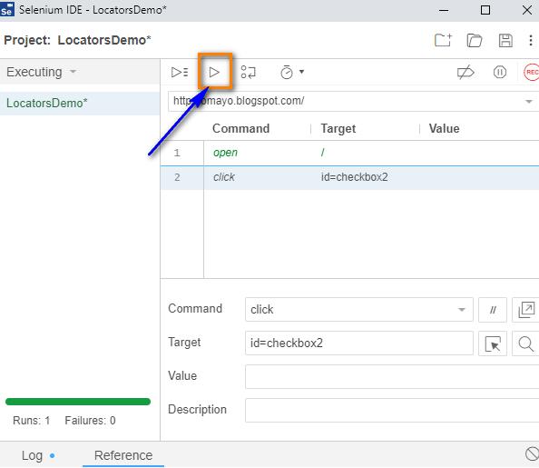 click Selenium IDE - play