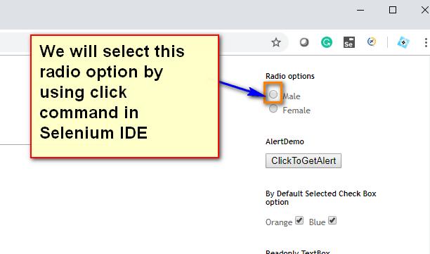 click Selenium IDE - radio demo