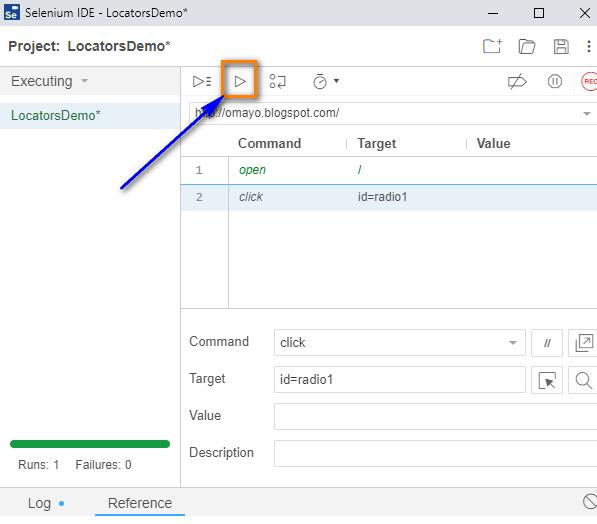 click Selenium IDE - run