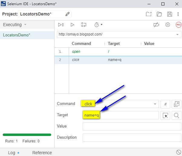 click Selenium IDE - type