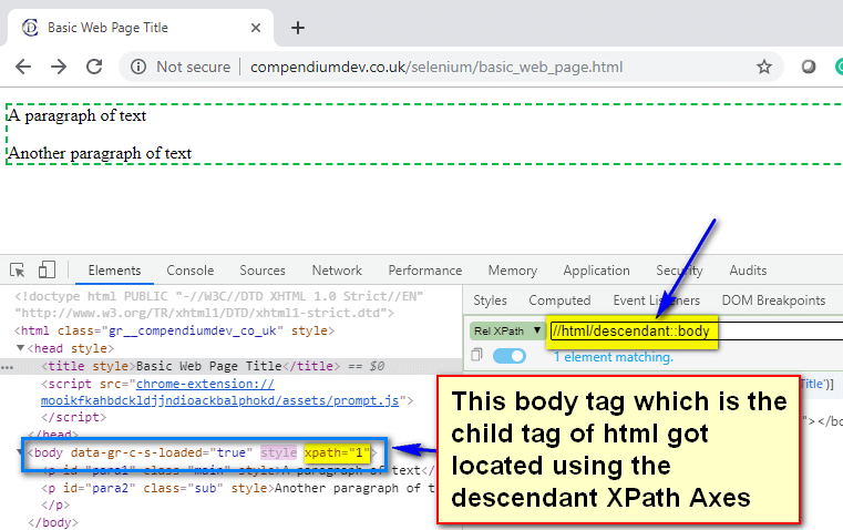 descendant XPath AXES - html body