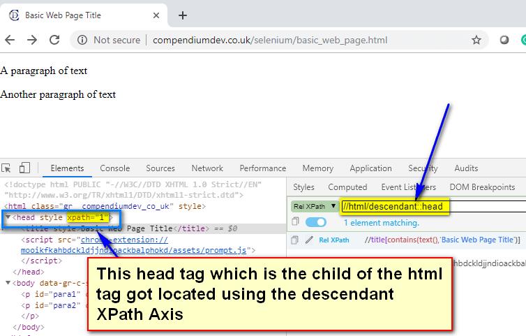 descendant XPath AXES - html head