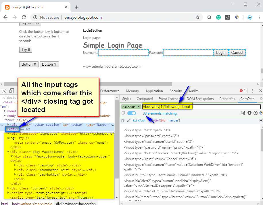 following XPath AXES - input tags located
