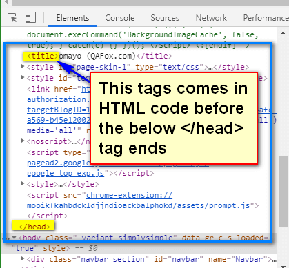 following XPath AXES - title before head ends