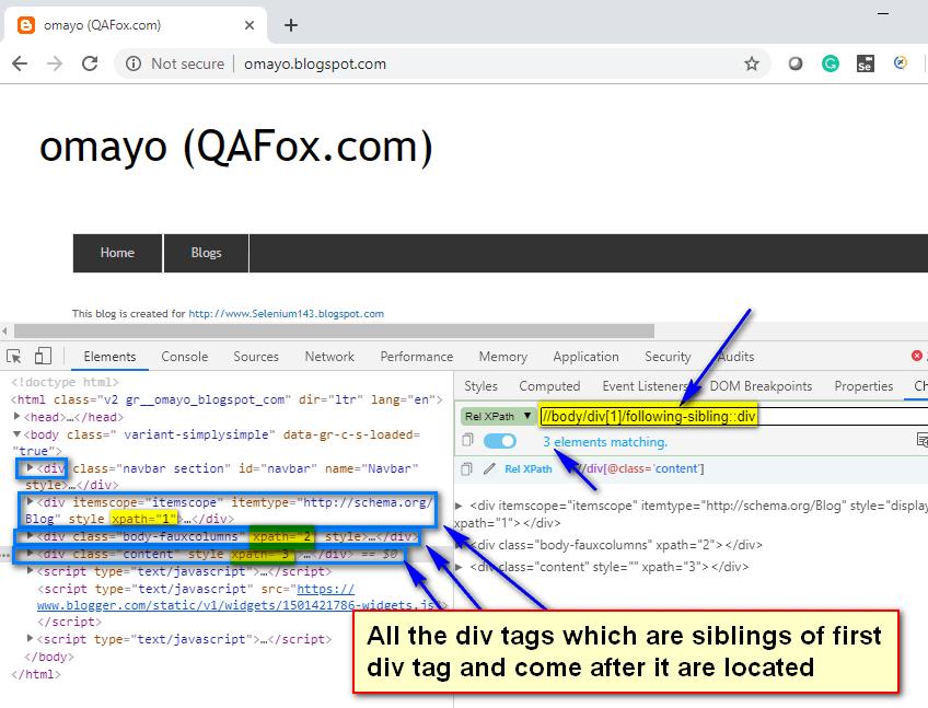 following-sibling XPath AXES - sibling divs