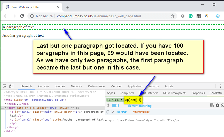 last() XPath Function - last but one p tag