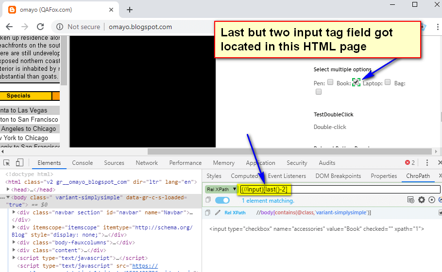 last() XPath Function - last but two