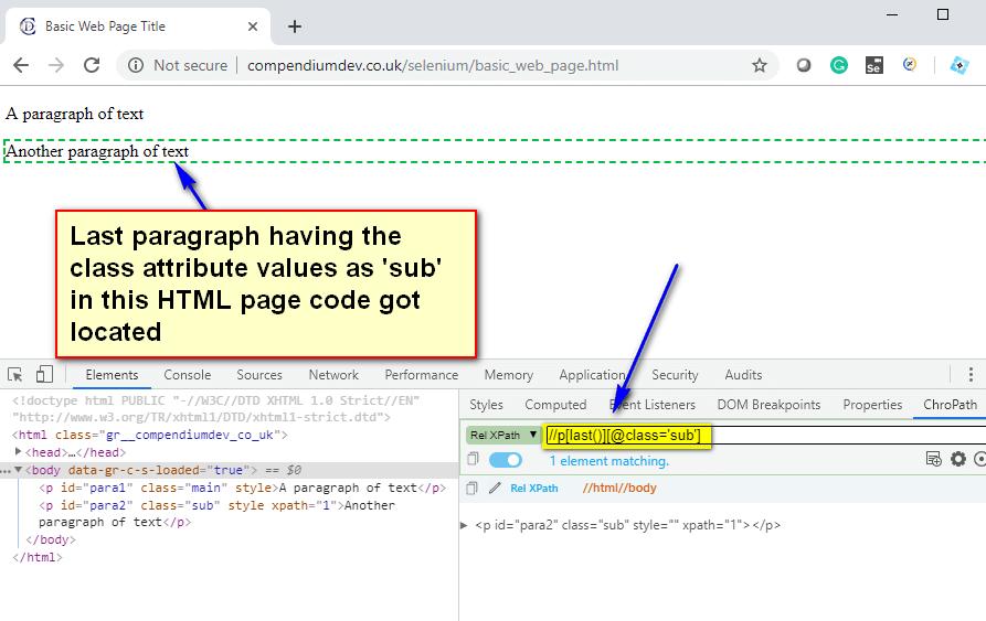 last() XPath Function - sub last