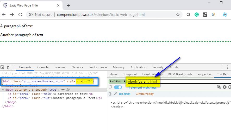 parent XPath AXES - body html