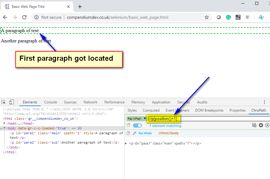 position() XPath Function - first paragraph