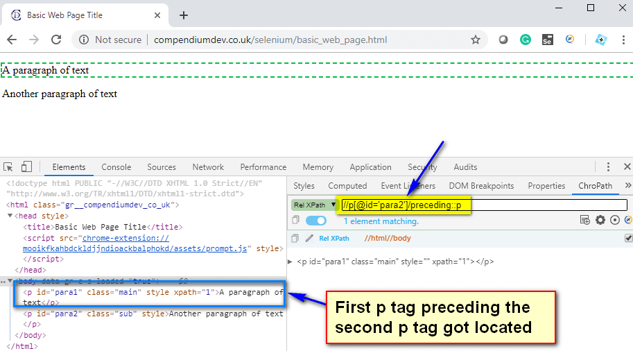preceding XPath AXES - first p tag located