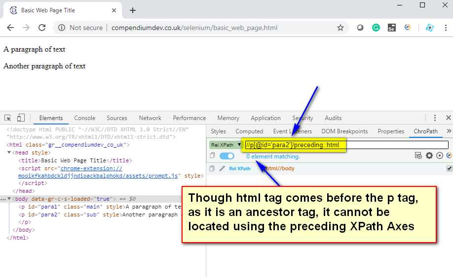 preceding XPath AXES - html located