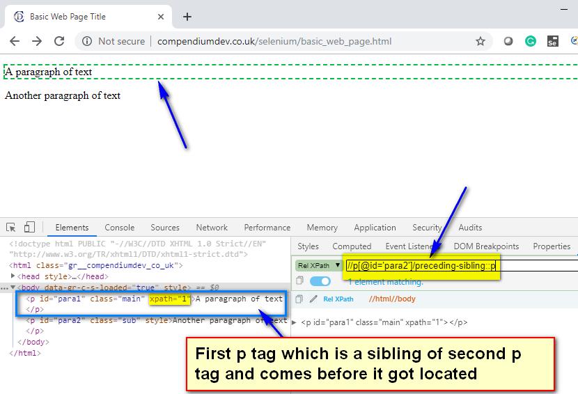 preceding-sibling XPath AXES - p tag