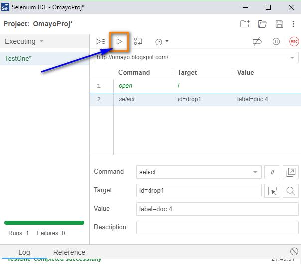 select Selenium IDE - run