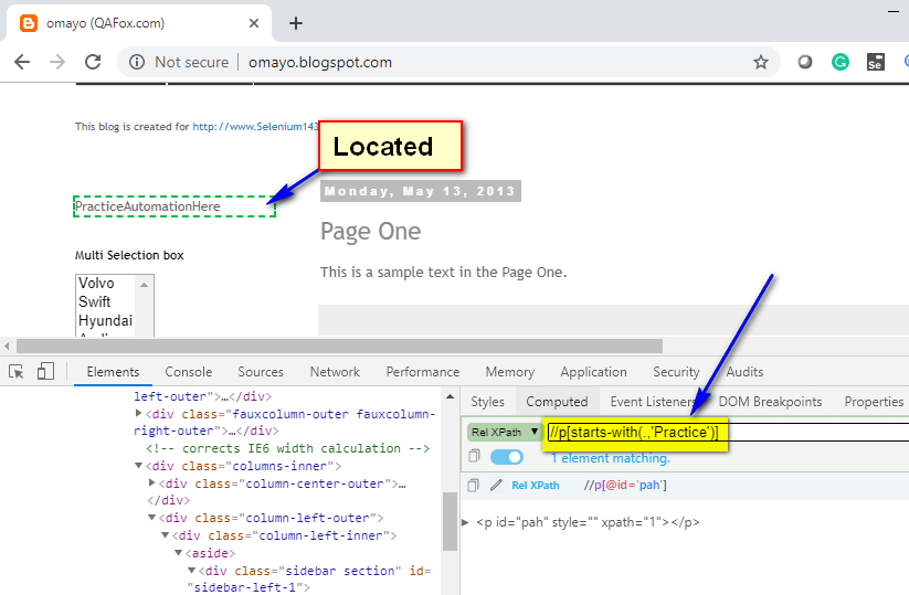 starts-with() XPath Function - located using dot