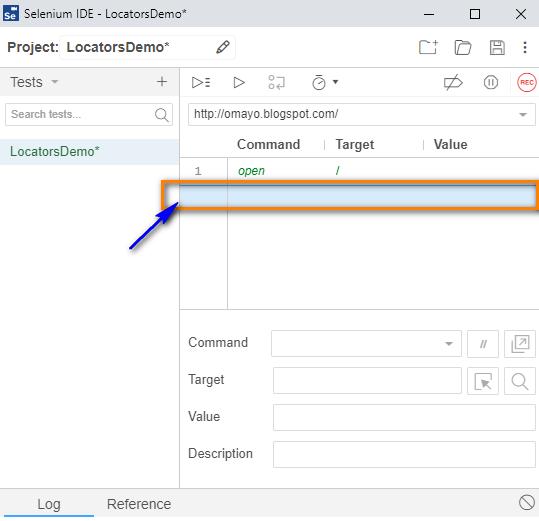 type Selenium IDE - click Row