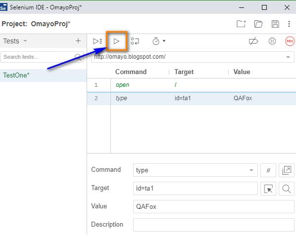 type Selenium IDE - run