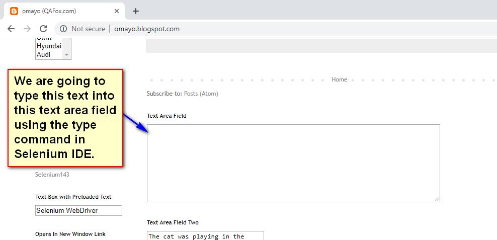 type Selenium IDE - text area demo