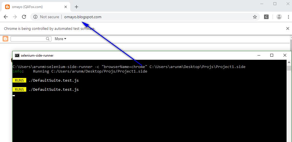 Chrome Browser Selenium IDE - executing