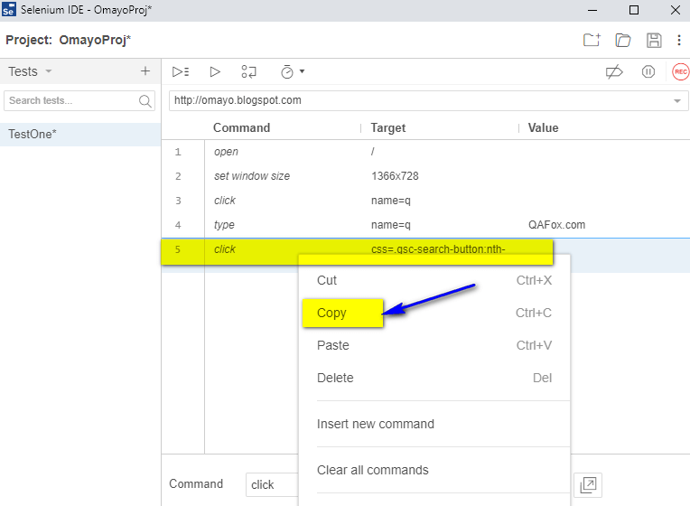 Copy Selenium IDE - copy option