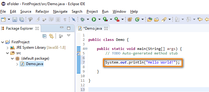 Creating a Java Project - print statement