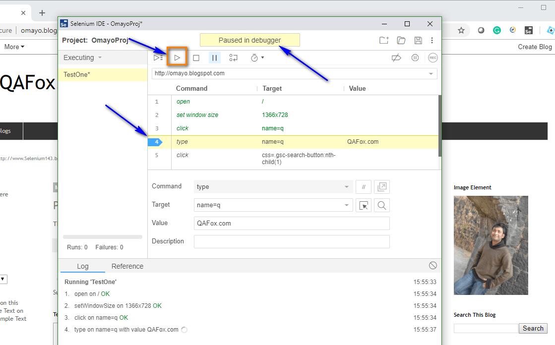 Debugging options Selenium IDE - execution paused