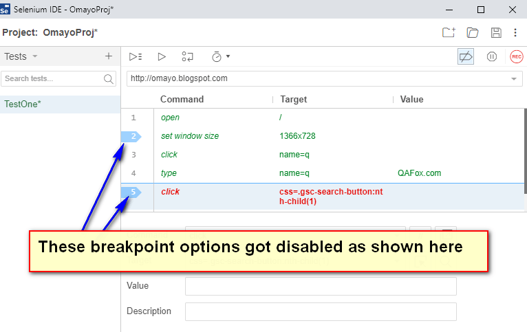 Debugging options Selenium IDE - got disabled