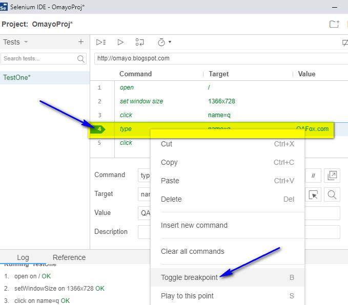 Debugging options Selenium IDE - remove breakpoint