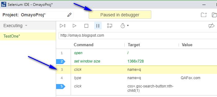 Debugging options Selenium IDE - stepover paused