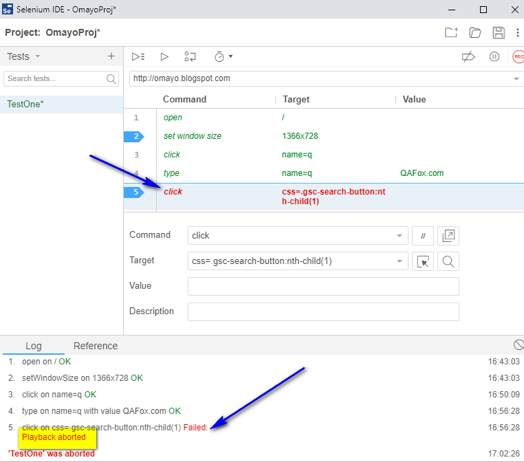 Debugging options Selenium IDE - stopped