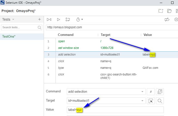 Debugging options Selenium IDE - xyz exception