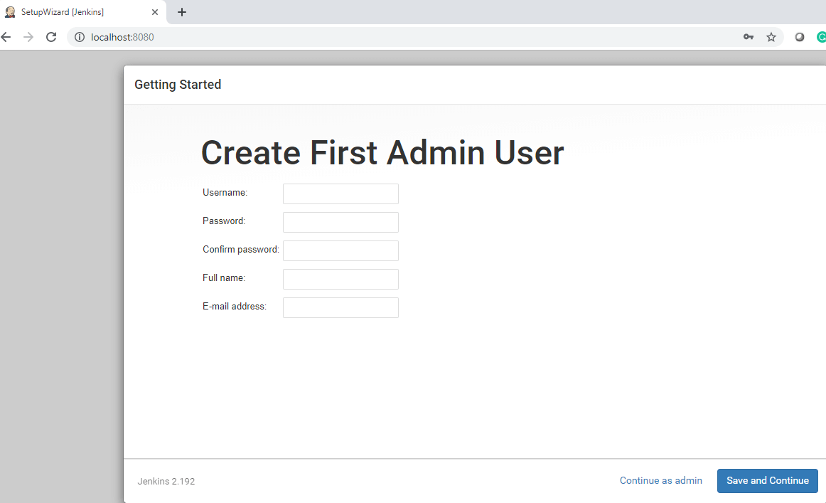 Downloading and Installing Jenkins - admin details page