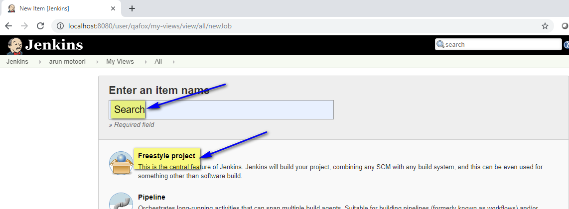 Downloading and Installing Jenkins - project create