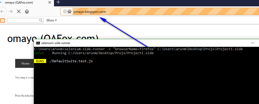 Firefox Browser Selenium IDE - executing