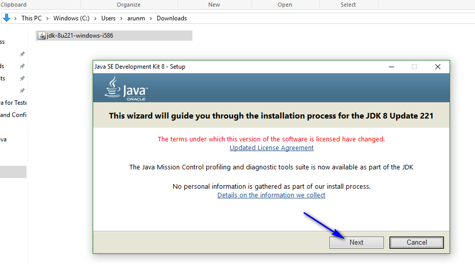 Install and configure Java - wizard