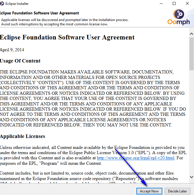 Installing and Launching Eclipse IDE - Accept Now